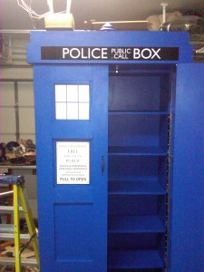 Tardis Bookcase. It's bigger on the inside because it opens up.